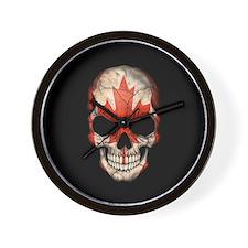 Canadian Flag Skull on Black Wall Clock