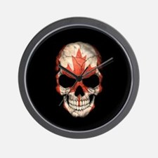 Canadian Flag Skull on Black Wall Clock