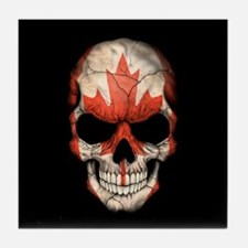 Canadian Flag Skull on Black Tile Coaster