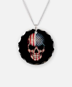 American Flag Skull on Black Necklace Circle Charm