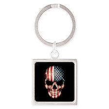 American Flag Skull on Black Keychains