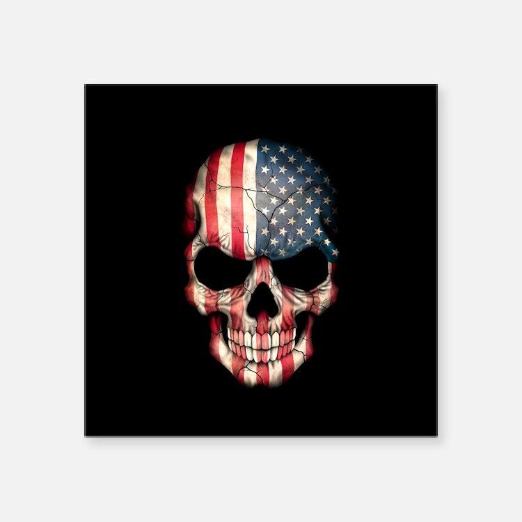 American Flag Skull on Black Sticker