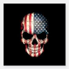 """American Flag Skull on Black Square Car Magnet 3"""""""