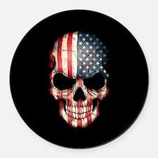 American Flag Skull on Black Round Car Magnet