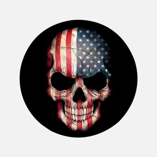 "American Flag Skull on Black 3.5"" Button"