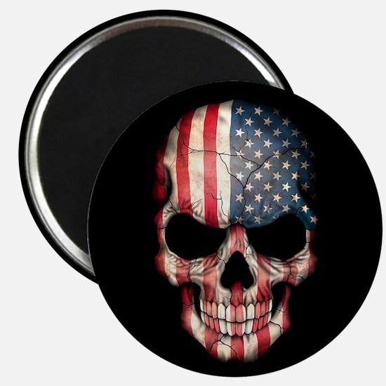 American Flag Skull on Black Magnets