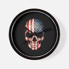 American Flag Skull on Black Wall Clock