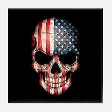 American Flag Skull on Black Tile Coaster