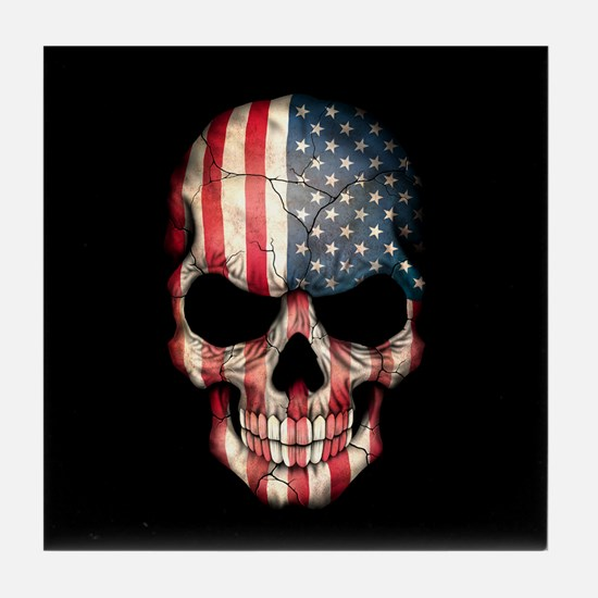 American Flag Skull on Black Tile Coaster