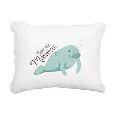 Save The Manatees Rectangular Canvas Pillow