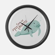 Save The Manatees Large Wall Clock