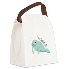 I love Manatees Canvas Lunch Bag