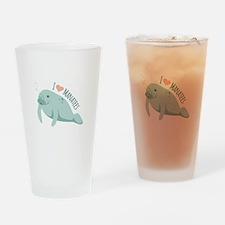 I love Manatees Drinking Glass