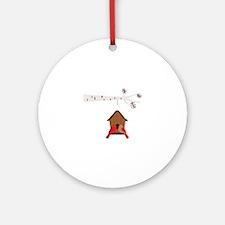 Winter Birdhouse Love Ornament (Round)