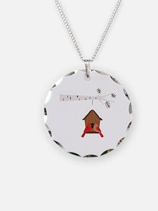 Winter Birdhouse Love Necklace