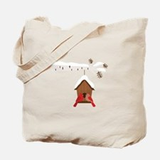 Winter Birdhouse Love Tote Bag