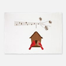 Winter Birdhouse Love 5'x7'Area Rug