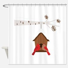 Winter Birdhouse Love Shower Curtain