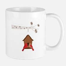 Winter Birdhouse Love Mugs