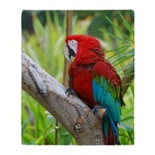 Red Macaw in a Tree Throw Blanket