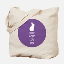 Keep Calm and Hop On - purple Tote Bag