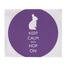 Keep Calm and Hop On - purple Throw Blanket