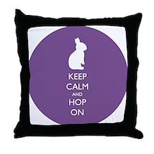 Keep Calm and Hop On - purple Throw Pillow