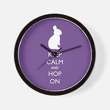 Keep Calm and Hop On - purple Wall Clock