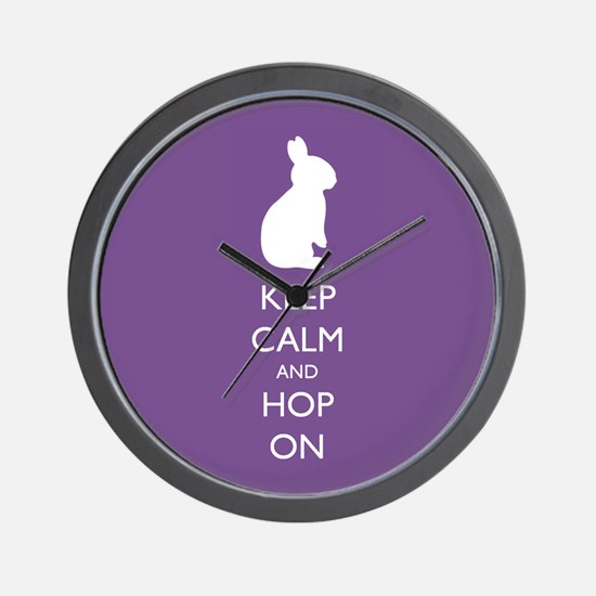 Keep Calm and Hop On - purple Wall Clock