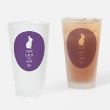 Keep Calm and Hop On - purple Drinking Glass