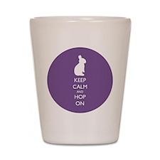 Keep Calm and Hop On - purple Shot Glass