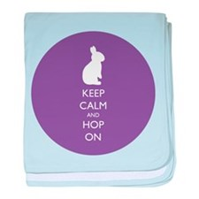 Keep Calm and Hop On - purple baby blanket