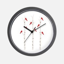 Cardinals in Trees Wall Clock