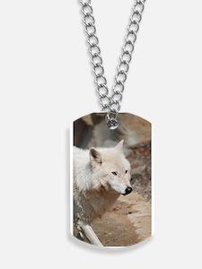 Elegant White Wolf Dog Tags