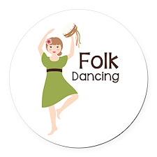 Folk Dancing Round Car Magnet