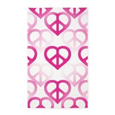 Pink Peace Hearts 3'x5' Area Rug