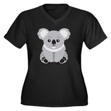 Cute Koala B Women's Plus Size V-Neck Dark T-Shirt