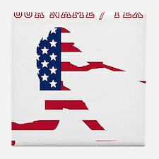 Custom Baseball Batter American Flag Tile Coaster