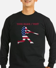 Custom Baseball Batter American Flag Long Sleeve T