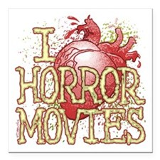 "I Heart Horror Movies Square Car Magnet 3"" X"