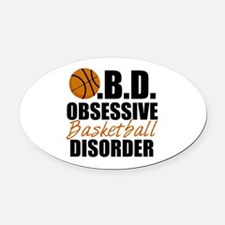 Funny Basketball Oval Car Magnet