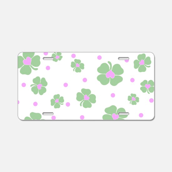 Cute Pink+Mint LUCKY IN LOVE Aluminum License Plat