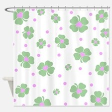 Cute Pink+Mint LUCKY IN LOVE Shower Curtain