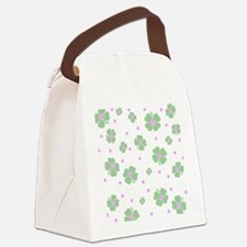 Cute Pink+Mint LUCKY IN LOVE Canvas Lunch Bag