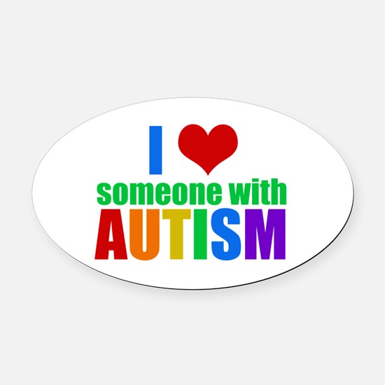 Autism Love Oval Car Magnet