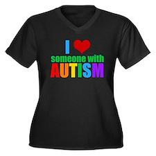 Autism Love Women's Plus Size V-Neck Dark T-Shirt
