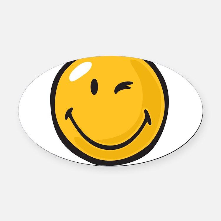 friendly wink Oval Car Magnet