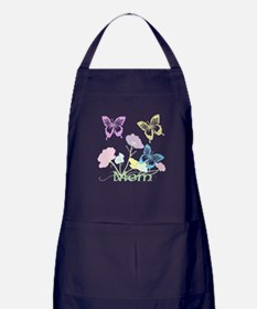 Personalize mom Flowers & Butterflies Apron (dark)