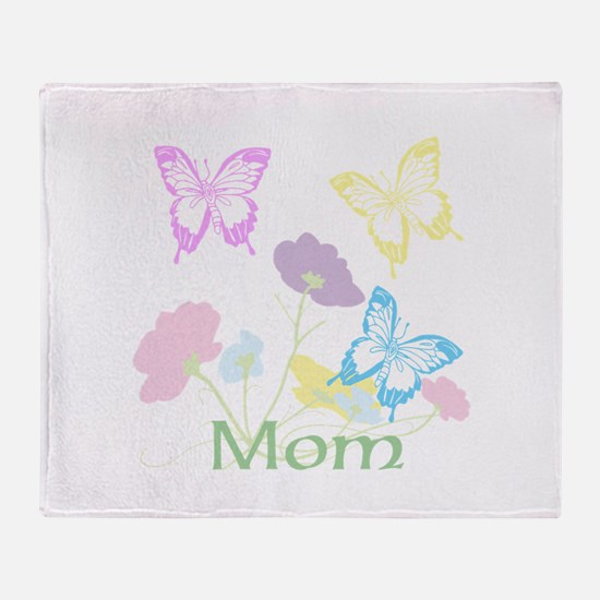 Personalize mom Flowers & Butterflie Throw Blanket