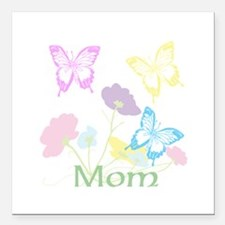 """Personalize mom Flowers Square Car Magnet 3"""" x 3"""""""
